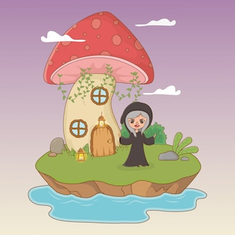 Märchenszene mit hexe