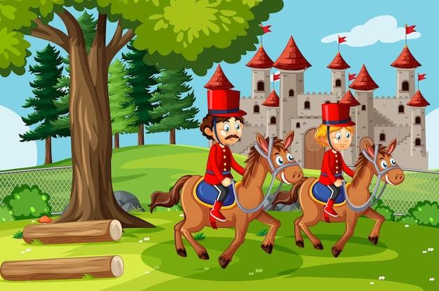 Märchenszene mit schloss und königlicher wachgartenszene Kostenlosen Vektoren