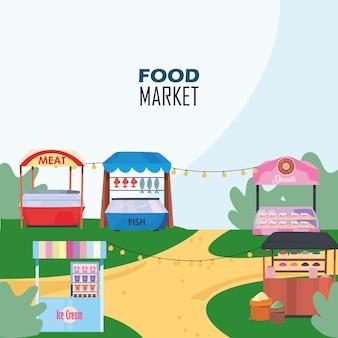 Märkte setzen am festivaldesign des ladeneinzelhandelsgeschäfts und kaufen thematische illustration