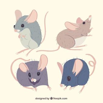 Mäuse sammlung in flachen stil
