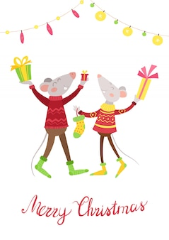 Mäusepaare glücklich mit flacher vektorillustration der geschenke