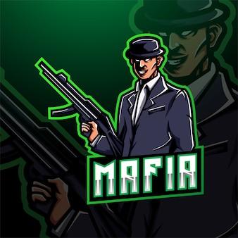 Mafia esport maskottchen logo gaming design Premium Vektoren