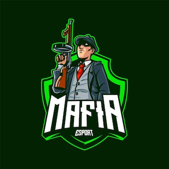 Mafia esport maskottchen logo illustration