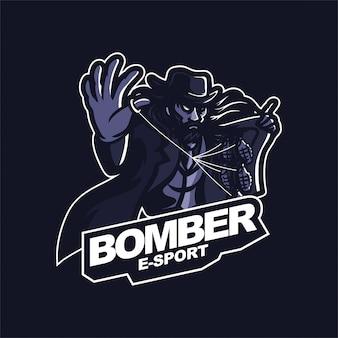 Mafia hält granate e-sport gaming maskottchen logo vorlage