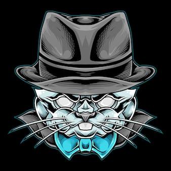 Mafia kaninchen maskottchen illustration