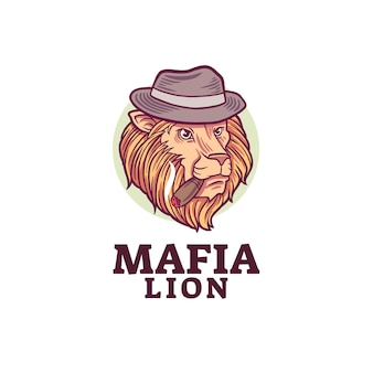 Mafia löwen maskottchen logo