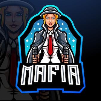 Mafia mädchen maskottchen esport logo design
