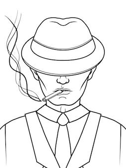 Mafia-mann mit hut und zigarette. gangster. schwarz und weiß. illustration.