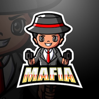 Mafia maskottchen esport logo illustration