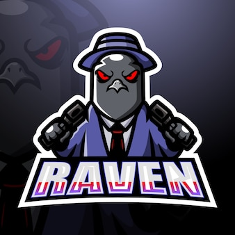 Mafia raven esport maskottchen illustration