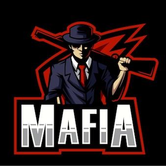 Mafia trägt schrotflinte esports logo design. illustration der mafia, die schrotflintenmaskottchen trägt