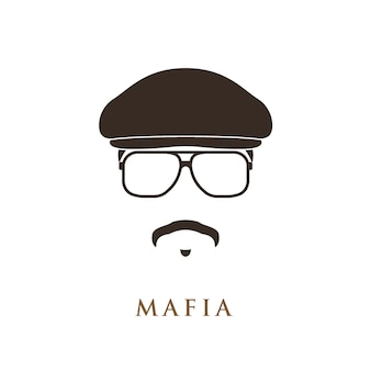 Mafioso-porträt isoliert auf weißem hintergrund
