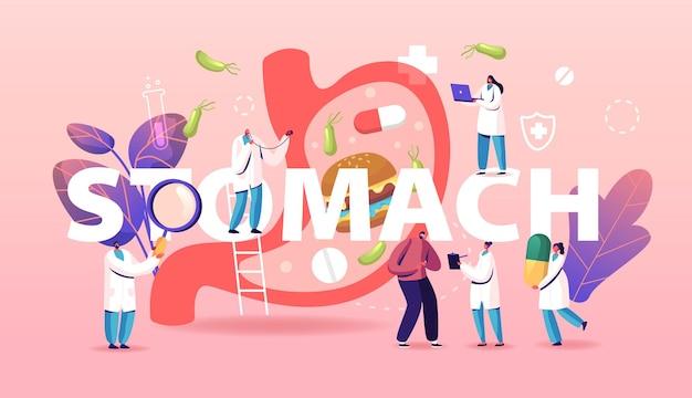 Magen-bauch-schmerz-konzept. magen-darm-verdauungsstörungen symptom, helicobacter, durchfall oder verstopfung krankheit und krankheit. karikatur flache illustration