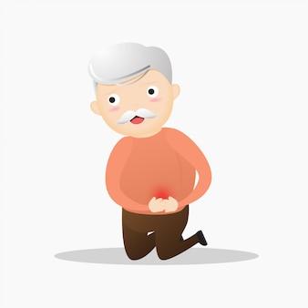 Magenschmerzenkonzept des alten mannes.