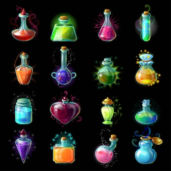 Magic bottles icon set