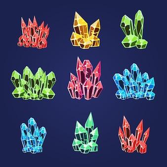 Magic crystals icons set