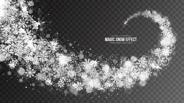 Magic falling snow-effekt mit transparenten weißen fliegenden schneeflocken