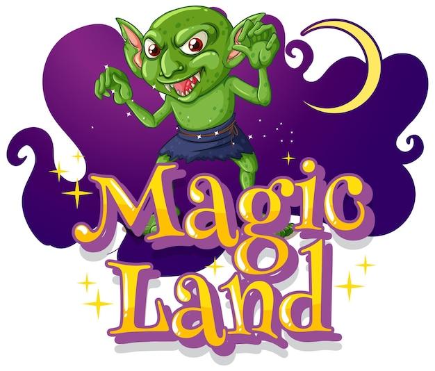 Magic land illustration mit einem kobold-cartoon-charakter
