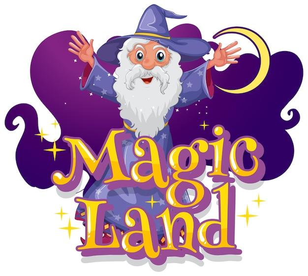 Magic land-schrift mit einem zauberer-cartoon-charakter