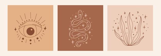 Magic line art poster mit augenschlangenblättern Premium Vektoren