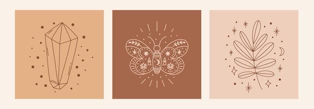Magic line art poster mit diamantblatt-schmetterling