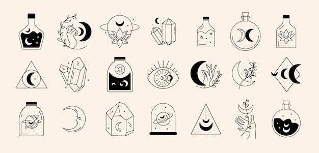 Magic line icon set
