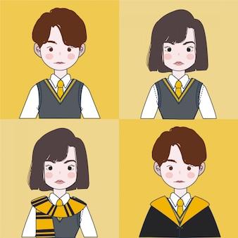 Magic school uniform set. assistent illustration. Premium Vektoren