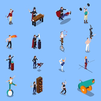 Magic show people isometric set