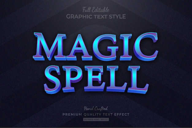 Magic spell rpg-spieltitel bearbeitbarer premium-texteffekt
