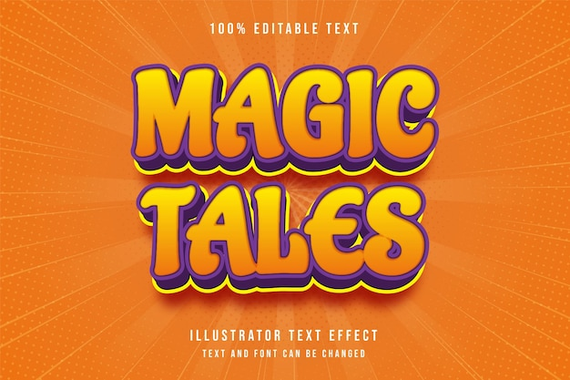 Magic tales3d bearbeitbarer texteffekt gelbe abstufung orange lila modernen comic-stil