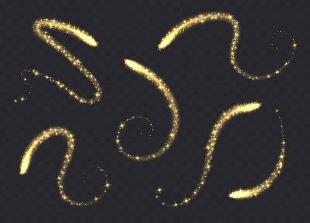 Magie wirbelt die lokalisierte sammlung. goldene lichtspuren mit funkelndem, leuchtendem lichteffekt, gelb glänzendem sternenstaub.
