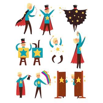 Magier, der einen zaubershow-satz von illustrationen durchführt, die auf einem weißen hintergrund lokalisiert werden