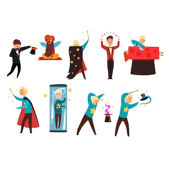 Magier, der tricks zeigt und fokus-satz von illustrationen lokalisiert auf einem weißen hintergrund