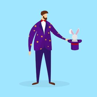 Magier im kostüm, das magischen hut mit kaninchen hält.