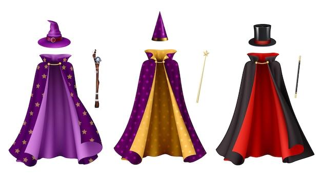 Magier kleidet realistisches set isolierte illustration