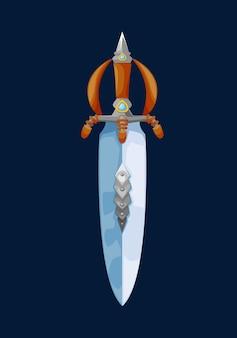 Magische cartoon-zwergbreitschwertklinge. vektor-märchen-kurzschwert, fantasy-messer der magischen waffe mit holzgriff und schutz verzierten edelsteinen. spiel kalte waffe, zweischneidiges schwert-symbol