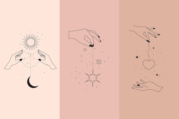 Magische diamanten und frauenhände in boho linearen stil illustrationen gesetzt