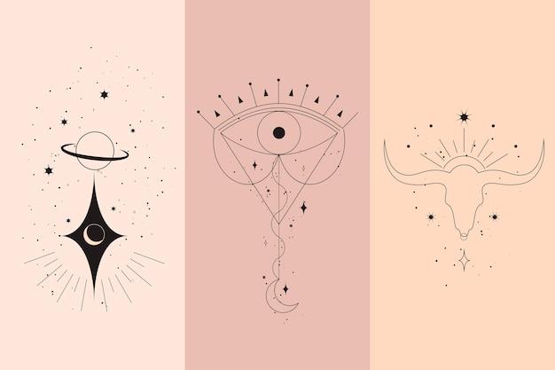 Magische diamanten und frauenhände mit illustrationen im mondsichel-stil