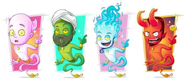 Magische dschinns der karikatur mit lampenzeichensatz