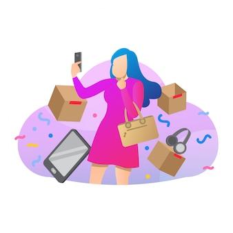 Magische e-handel hand gezeichnete illustration