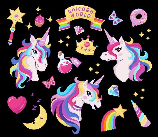 Magische einhorn-icon-set mit zauberstab, sterne mit regenbogen, diamanten, krone, halbmond, herz, schmetterling, dekor für mädchen geburtstag,