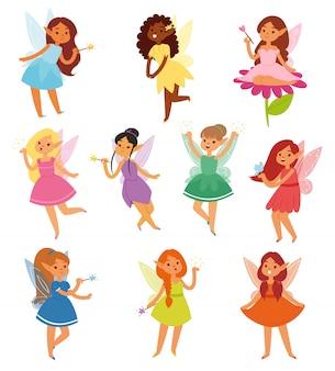 Magische feenfigur des märchenmädchens und schöne märchenprinzessin der fantasie im märchenlandillustrationsfee-satz von girlie faerie pixy mit magischen flügeln auf weißem hintergrund