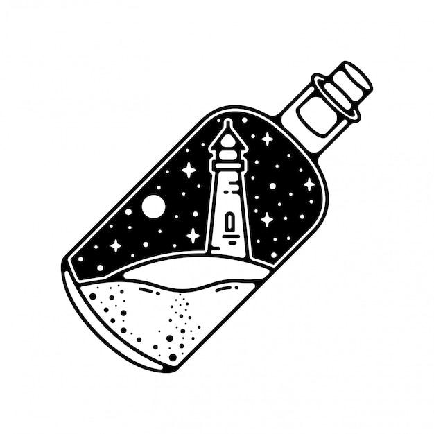 Magische flasche mit mercusuar vintage design