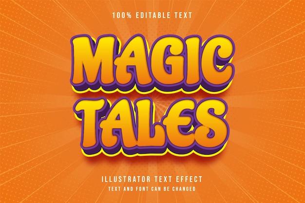 Magische geschichten, 3d bearbeitbarer texteffekt gelbe abstufung orange lila moderner comic-stil