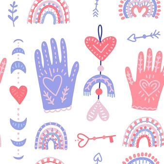 Magische hände und liebesmondphasen. hand gezeichnetes flaches nahtloses muster für valentinstag