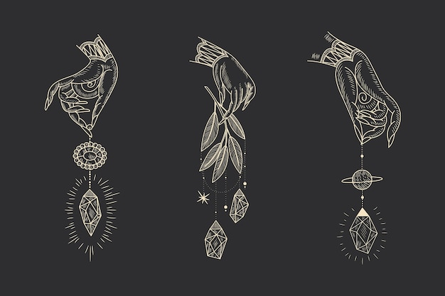 Magische heilige illustration im vintage-retro-gravur-stil