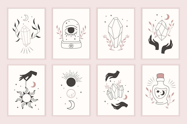 Magische hexensymbole. satz mystischer vorlagen. handgemalt. karten mit esoterischen zeichnungen. silhouette von händen, planeten, sternen, mondphasen und kristallen.