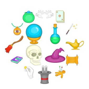 Magische ikonen eingestellt, karikaturart