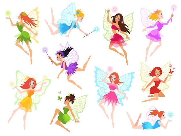 Magische kleine feen in verschiedenfarbigen kleidern mit flügeln