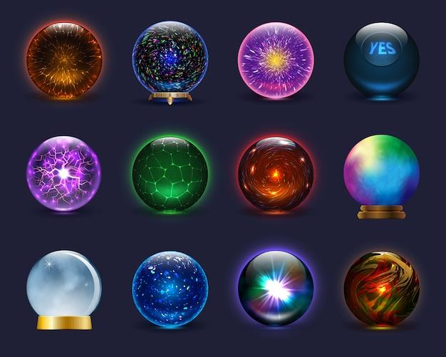 Magische kristallglaskugel der magischen kugel und glänzende blitztransparente kugel als vorhersage-wahrsagerillustration prächtiger satz auf hintergrund